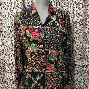 Vintage Floral Patchwork Cottagecore Button Down